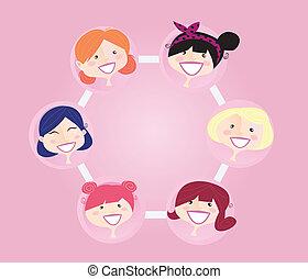 networking, gruppe, kvinder