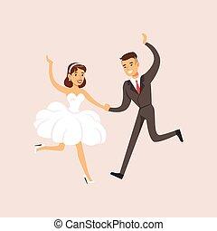 newlyweds, dans, moderne, scene, bryllup gilder, først