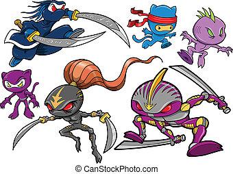 ninja, cyborg, sæt, robotic, kriger