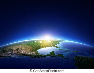 nord, hen, skyfrie, jord, amerika, solopgang