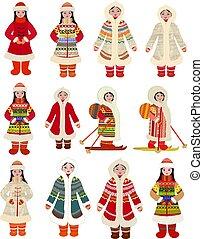 nordlig, afbildningerne, piger, samling, traditionelt kostume, det peoples, cartoon