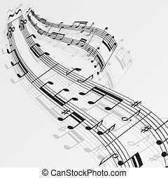 notere, musik, baggrund, bølge