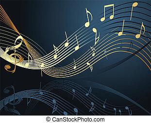 notere, musik, baggrund
