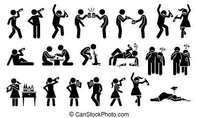 nydelse, alkoholikeren, kvinde, drunk., indtil, mand, bumle