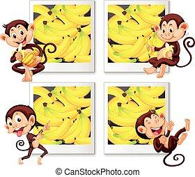nydelse, banan, glade, aber