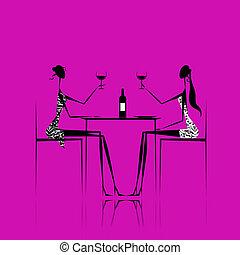 nydelse, cafe, piger, vin