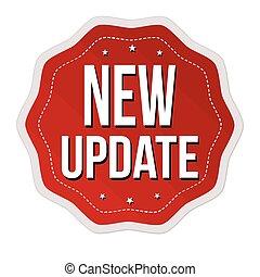 nye, aktualisere, etikette, mærkaten, eller