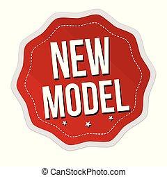 nye, etikette, eller, model, mærkaten
