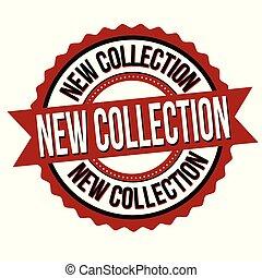 nye, mærkaten, eller, samling, etikette