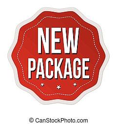 nye, mærkaten, pakke, eller, etikette