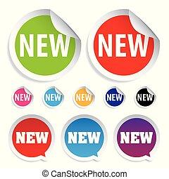 nye, mærkaten, sæt, etikette