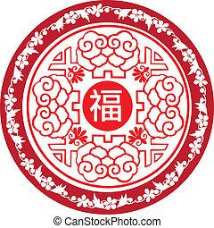 nytår, omkring, kinesisk, ikon