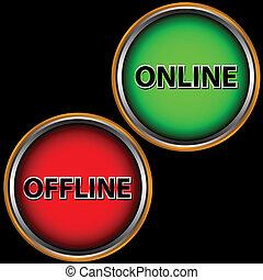 offline, online, ikon
