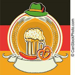 oktoberfest, symboler, etikette, øl, flag, tysk