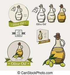 olie, emblemer, elements., logos, sæt, oliven, etiketter, konstruktion