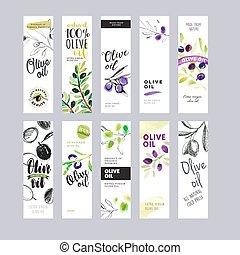 olie, etiketter, sæt, oliven
