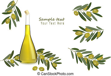 olie, flaske, oliven, olivener