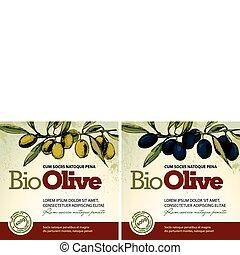 olie, oliven, etiketter