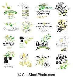 oliven, etiketter, sæt, olie