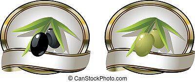 olives:, etiketter, grønne, to, sort
