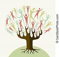 omfavnelse, sæt, diversity, træ