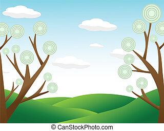omgivelser, abstrakt, cou, høj, træer