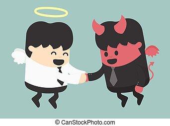 omryste, djævel, engel, hænder