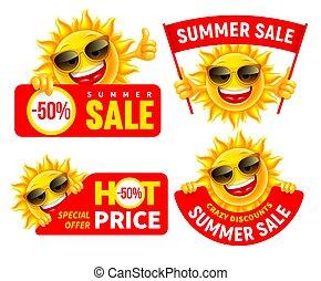 omsætning, sæt, muntre, bogstaverne, cartoon, kungøre, sommer, sol