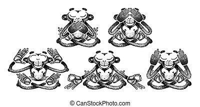 onde, plakat, nej, evil., siddende, sæt, opstille, monkeys., afhøre, se, tattoo., meditation., tryk, tal, forskellige, t-shirt, aber
