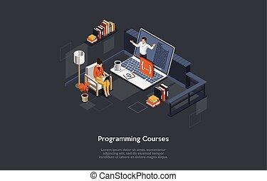 online, kurser, oplæring, programmering, komposition, tekst, illustration., isometric, erhverv, vektor, bogstaverne, 3, internet, firmanavnet, concept., undervisning, teknologisk., infographics., studium, personlig, learn., cartoon