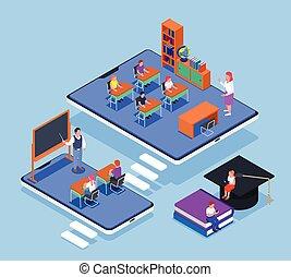 online undervisning, isometric, begreb