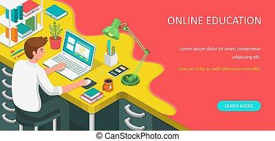 online, væv, laptop., siddende, vektor, isometric, eller, banner., lejlighed, skrivebord, undervisning, home., kigge, tutorials, illustration., e-learning, kurser, student, afstand lære, concept.