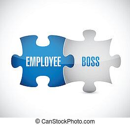 opgave, illustration, boss, konstruktion, ansatte, stykker