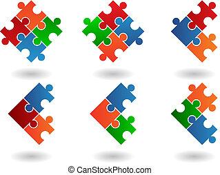 opgave, jigsaw, iconerne