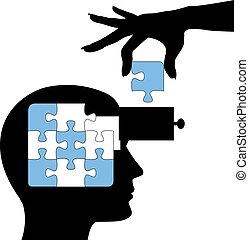 opgave, person, lær, forstand, løsning, undervisning