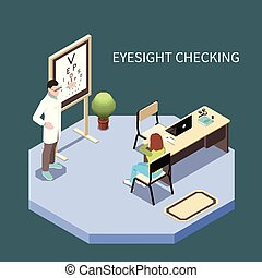 ophthalmology, isometric, komposition