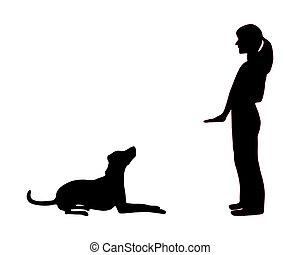 oplæring, his, hund, derned, (obedience):, befaling