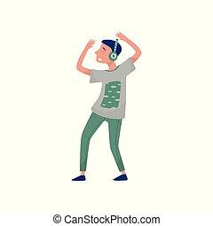 oppe., dreng, musik lytte, dansende, hovedtelefoner, time., lejlighed, outfit., vektor, konstruktion, adolescent, student, hænder, stilfuld, guy, gilde
