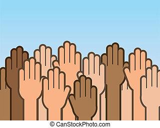 oppe, hænder, mange