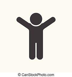 oppe., lejlighed, silhuet, sort, hænder, ikon, mand