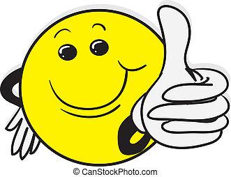 oppe, smile, guy, tommelfingre