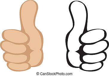 oppe, vektor, gesture., tommelfingre