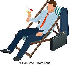 oprett, cartoon, cocktail, forretningsmand, arbejder, dæk, write., isometric, firma, stol, isoleret, karakter, slapp, kontor, folk.