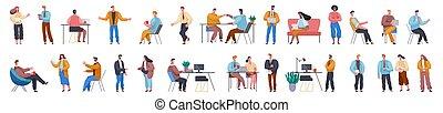 opstille, sæt, kontor, karakter, forretningsmand, gestuser, actions., professionel, arbejder