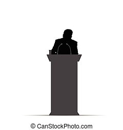 orator, silhuet, illustration, mand