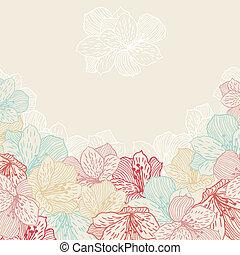 orchid., blomst, abstrakt, seamless, elegance, baggrund