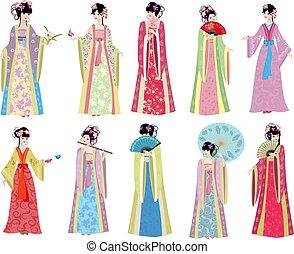 orientalsk, piger, retro, samling, kostume