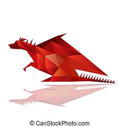 origami, abstrakt, rød, illustration, drage