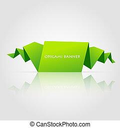 origami, abstrakt, tale, grønne, boble