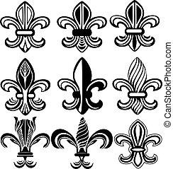 orleans, symbol, læsider, fleur, nye, af